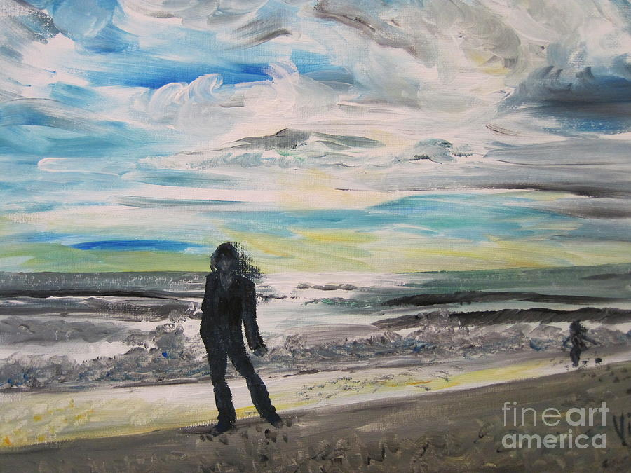 Beach Painting - Ptg.   Will She Still Remember by Judy Via-Wolff