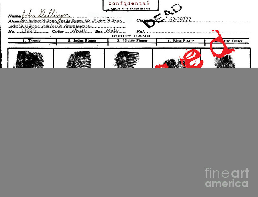 John Dillinger Digital Art - Public Enemy No 1. Confidential by Brittany Perez