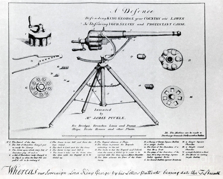 Science Photograph - Puckle Defence Gun Patent, 1718 by Science Source