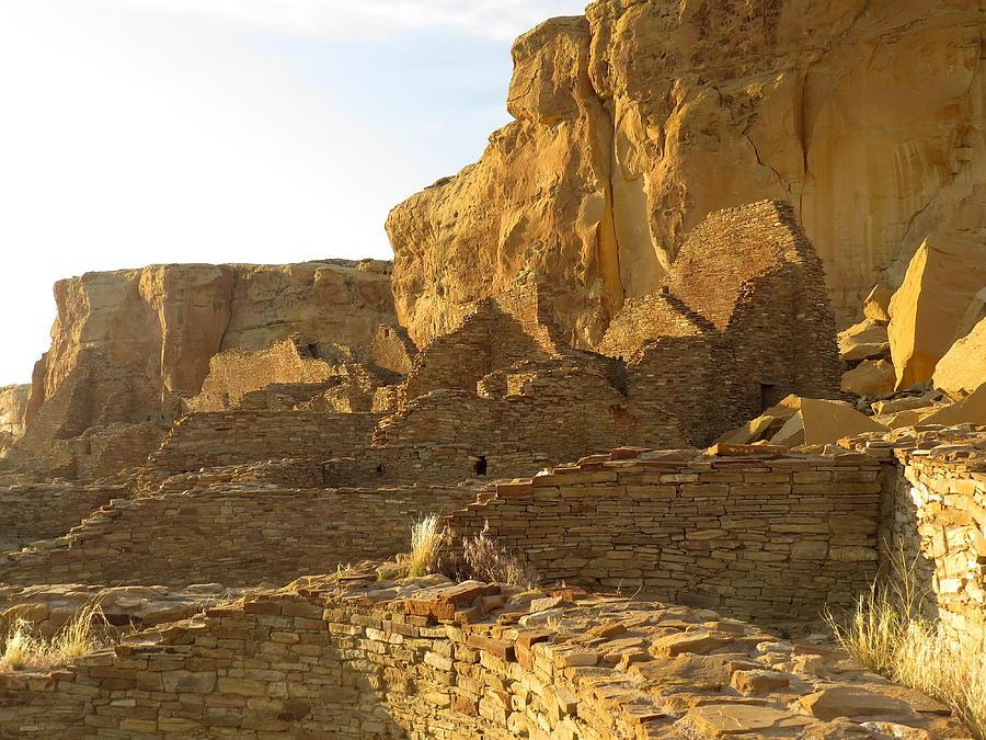 Chaco Photograph - Pueblo Bonito And Cliff by Feva  Fotos