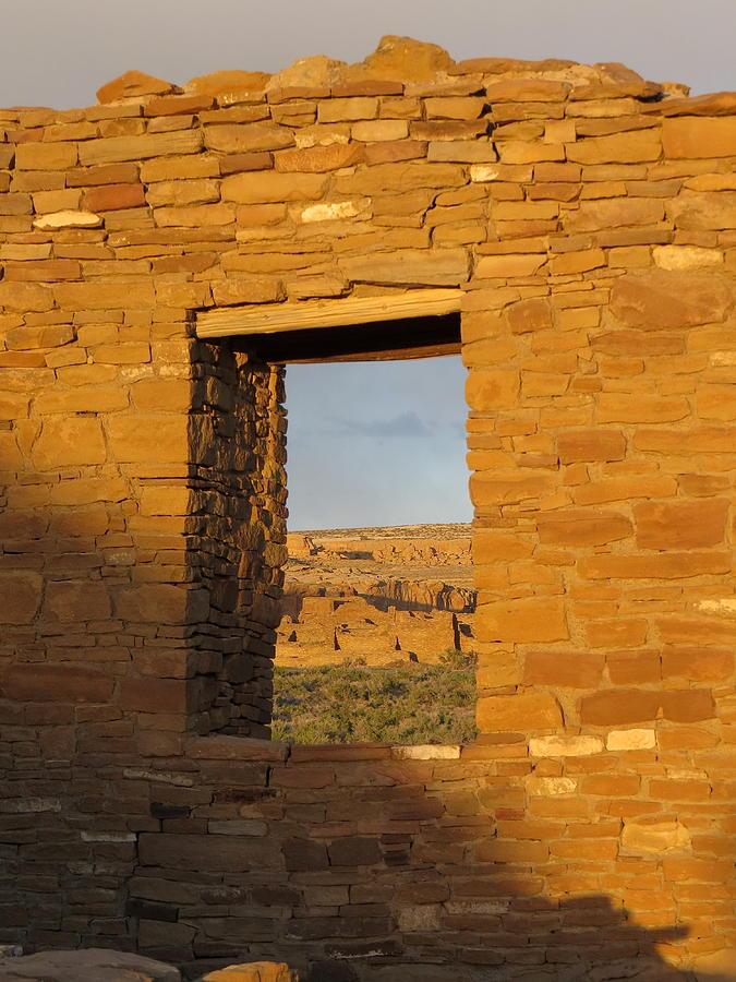 Chaco Photograph - Pueblo Bonito Through A Doorway by Feva  Fotos