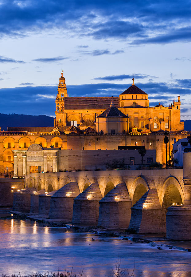 Cordoba Photograph - Puente Romano And Mezquita At Twilight In Cordoba by Artur Bogacki