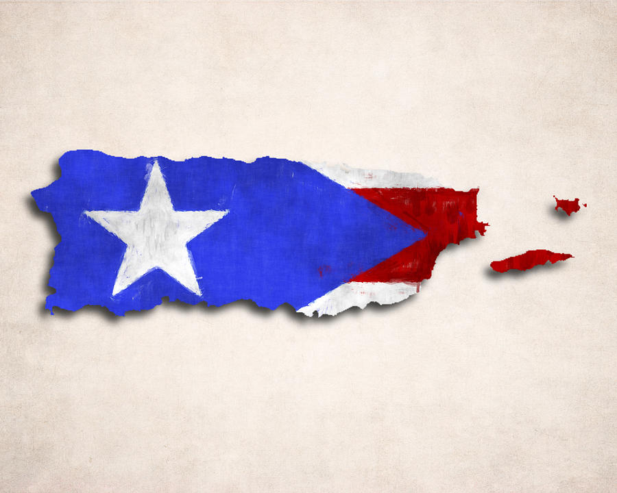 Puerto Rico Map Art With Flag Design Digital By World Prints