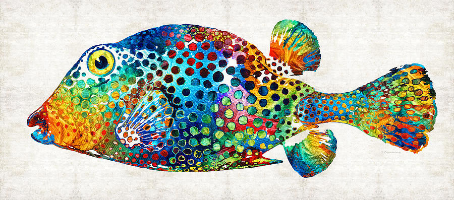 Puffer fish art puff love by sharon cummings painting for Paintings of fish