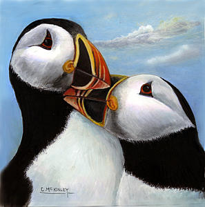 Birds Painting - Puffin Love by Carl McKinley