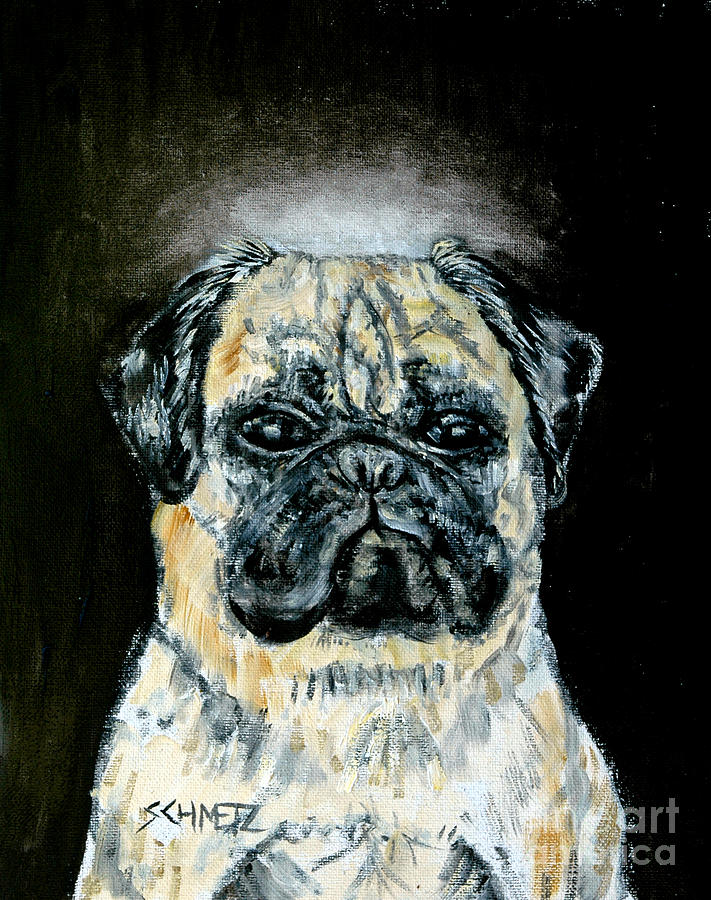 Pug Painting - Pug Angel by Jay  Schmetz