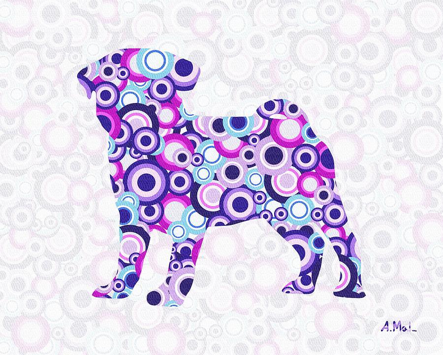 Malakhova Digital Art - Pug - Animal Art by Anastasiya Malakhova