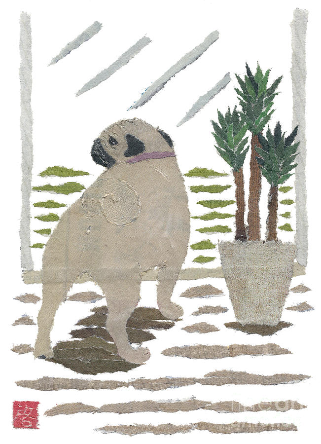Pug Painting - Pug Art Hand-torn Newspaper Collage Art by Keiko Suzuki Bless Hue