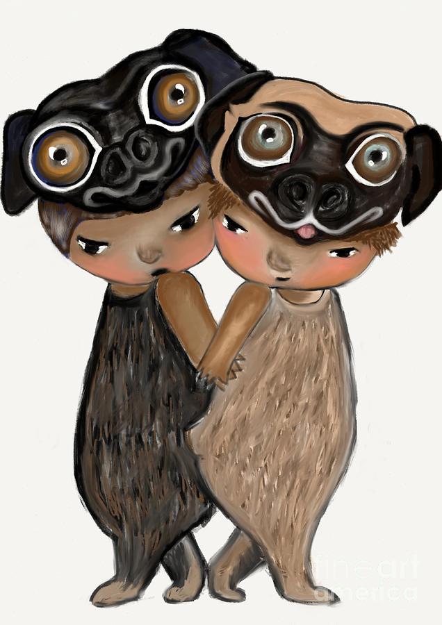 Pugs Digital Art - Pug Brothers by Beatrice Ajayi