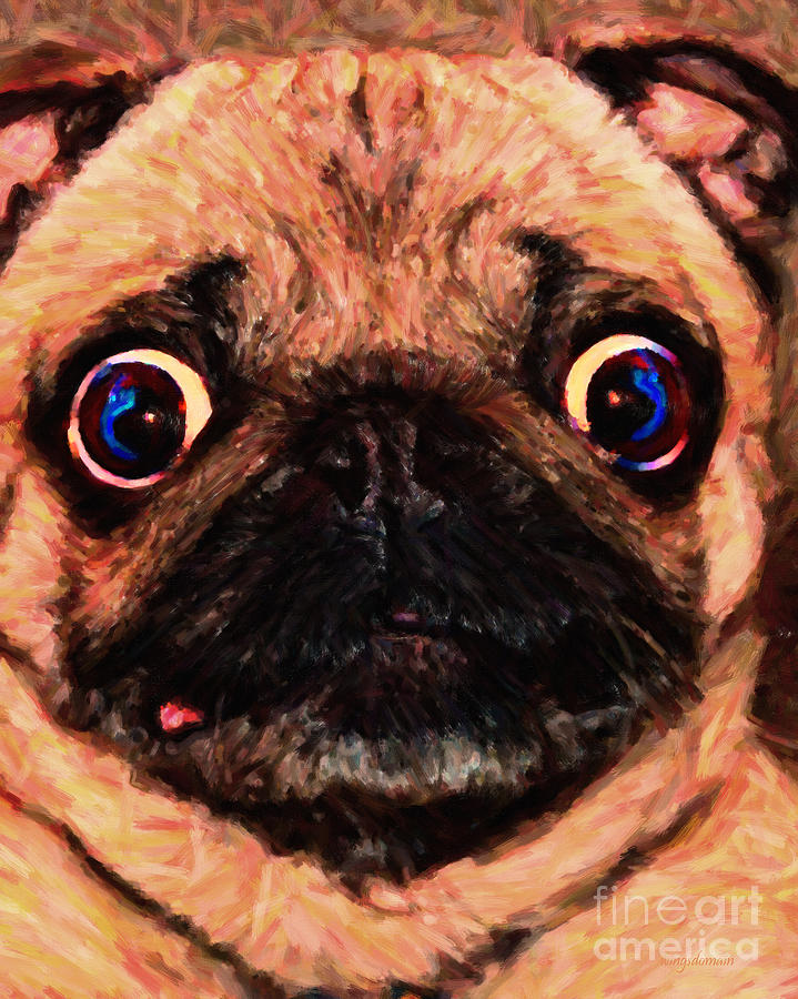 Animal Photograph - Pug Dog - Painterly by Wingsdomain Art and Photography