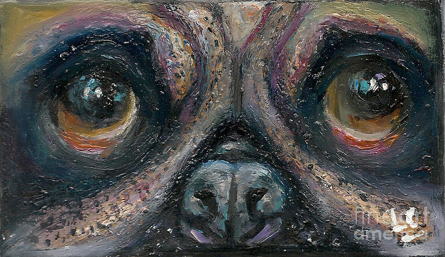 Eyes Painting - Pug by Donna Chaasadah