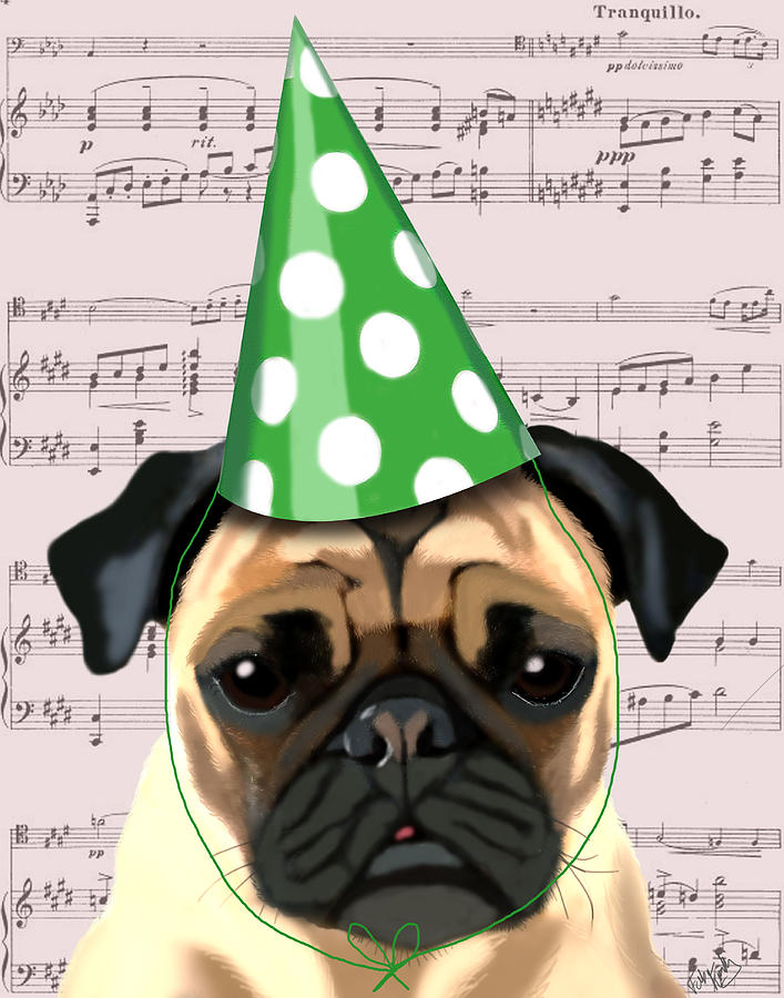 Green Greeting Cards Digital Art - Pug In A Party Hat by Kelly McLaughlan