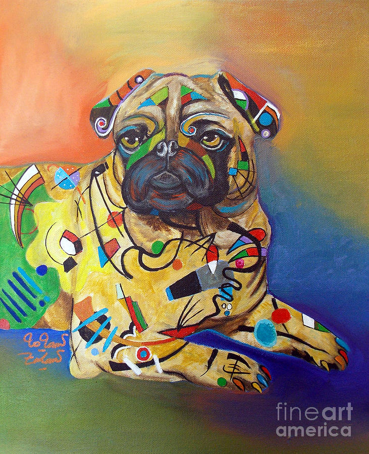 Pug Kandinsky Painting By To Tam Gerwe