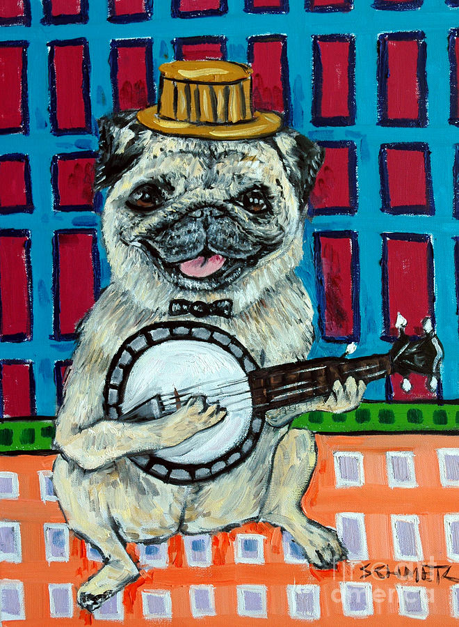 Pug Painting - Pug Playing Banjo by Jay  Schmetz