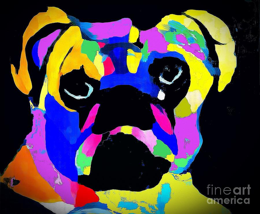 Pug Painting - Pug Power Impression by Saundra Myles