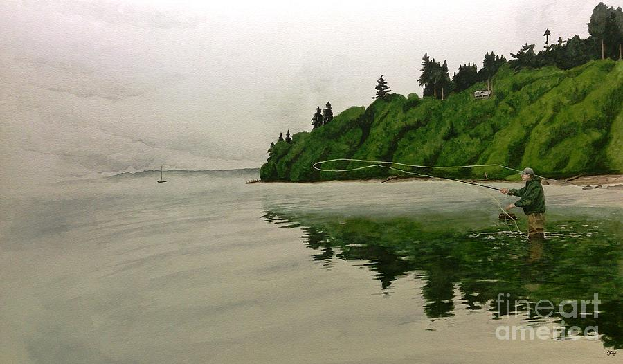 Fishing Painting - Puget Sound On The Fly by Jason Bordash
