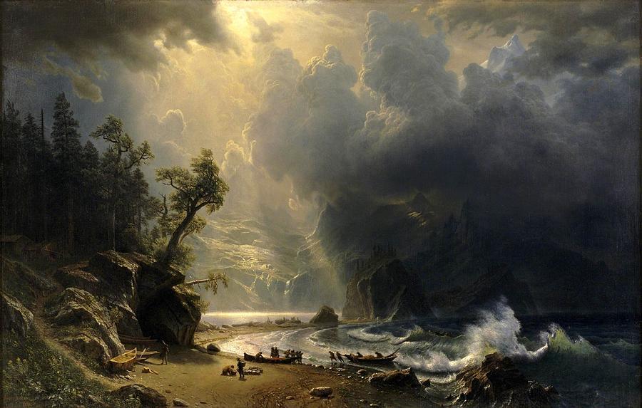 Albert Bierstadt Painting - Puget Sound On The Pacific Coast by Albert Bierstadt