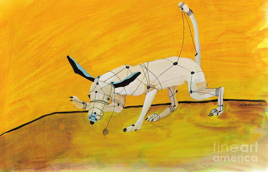 Orange Painting - Pulling My Own Strings by Pat Saunders-White