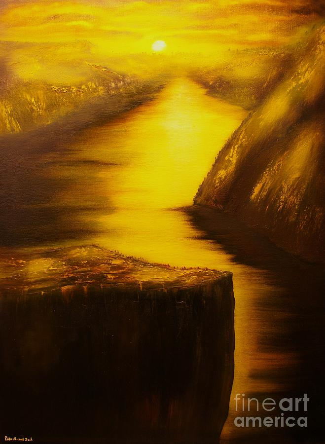 Pulpit Rock Painting - Pulpit Rock-preikestolen-original Sold-buy Giclee Print Nr 27 Of Limited Edition Of 40 Prints  by Eddie Michael Beck
