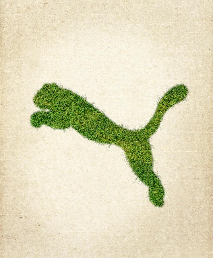 Puma Logo Drawing - Puma Grass Logo by Aged Pixel