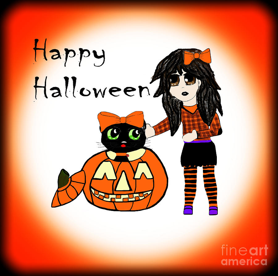 Anime Photograph - Pumpkin And Halloween Cat by Eva Thomas