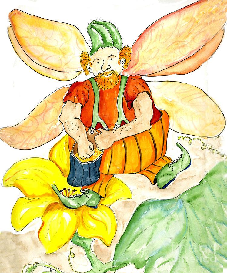 Pumpkins Painting - Pumpkin Fairy by Ellen Miffitt