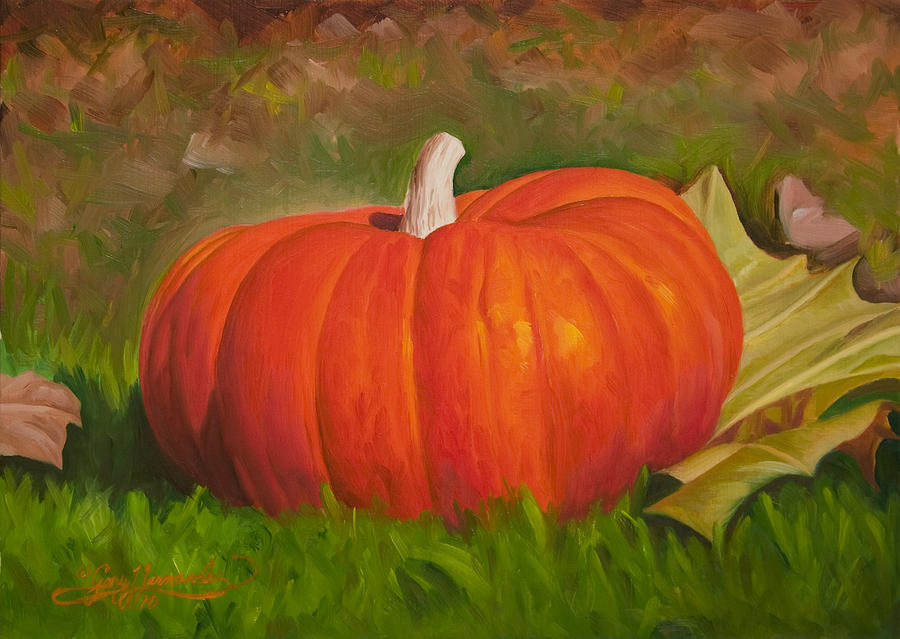 Halloween Painting - Pumpkin in Cad Orange by Gary  Hernandez