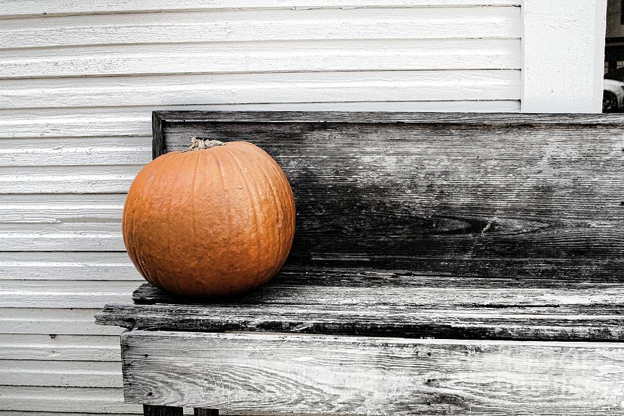 Pumpkin Photograph - Pumpkin On A Bench by Audreen Gieger