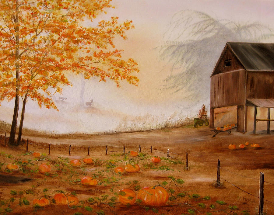 Autumn Painting - Pumpkin Patch by RJ McNall