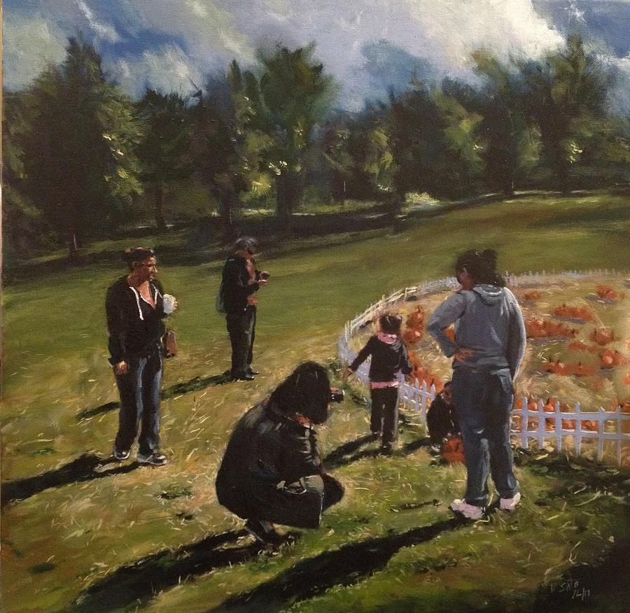 Harvest Festival Painting - Pumpkin Picking by Victor SOTO