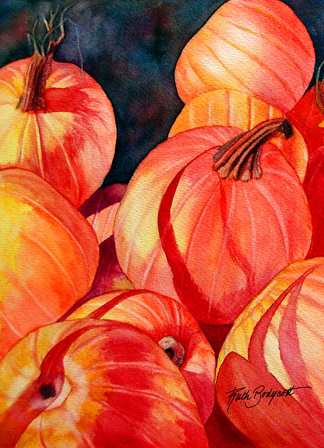Pumpkin Painting - Pumpkin Pile by Ruth Bodycott