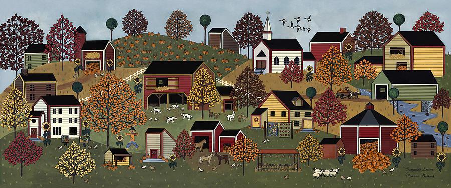 Folk Art Print Painting - Pumpkin Season by Medana Gabbard