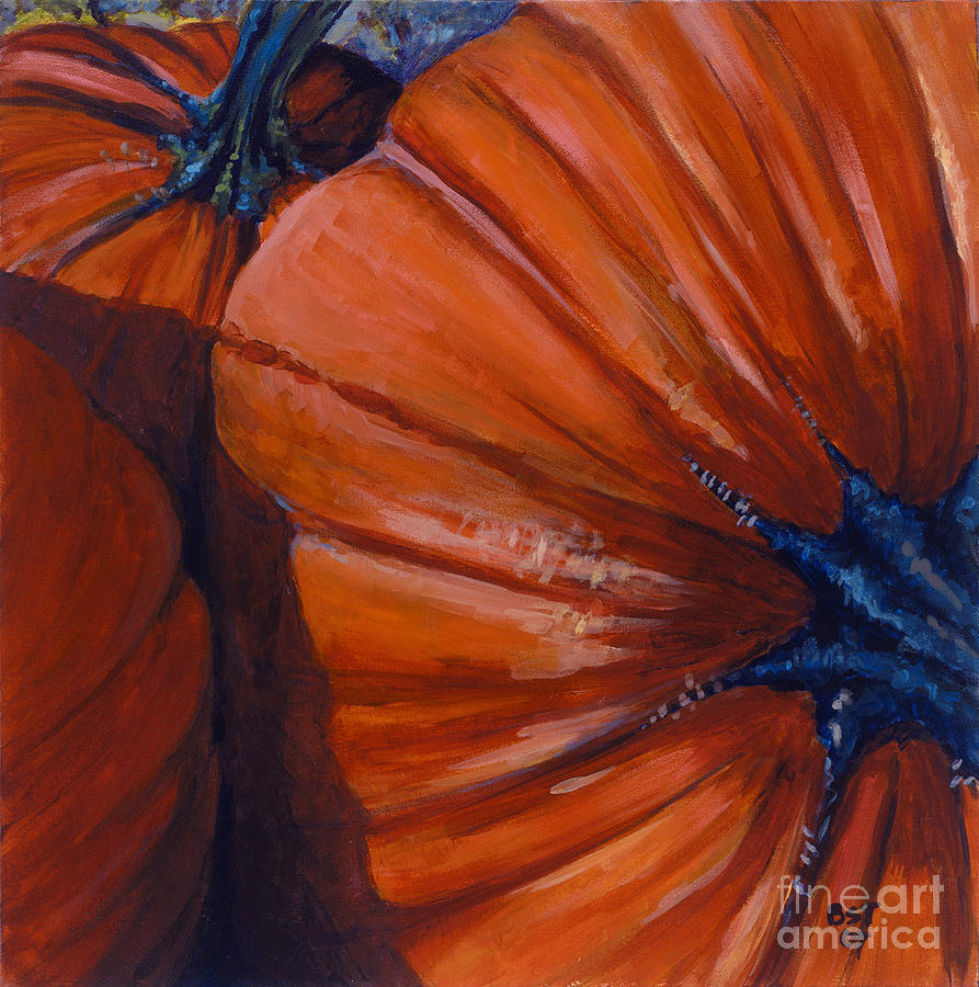 Pumpkins Painting - Pumpkins by Betsee  Talavera