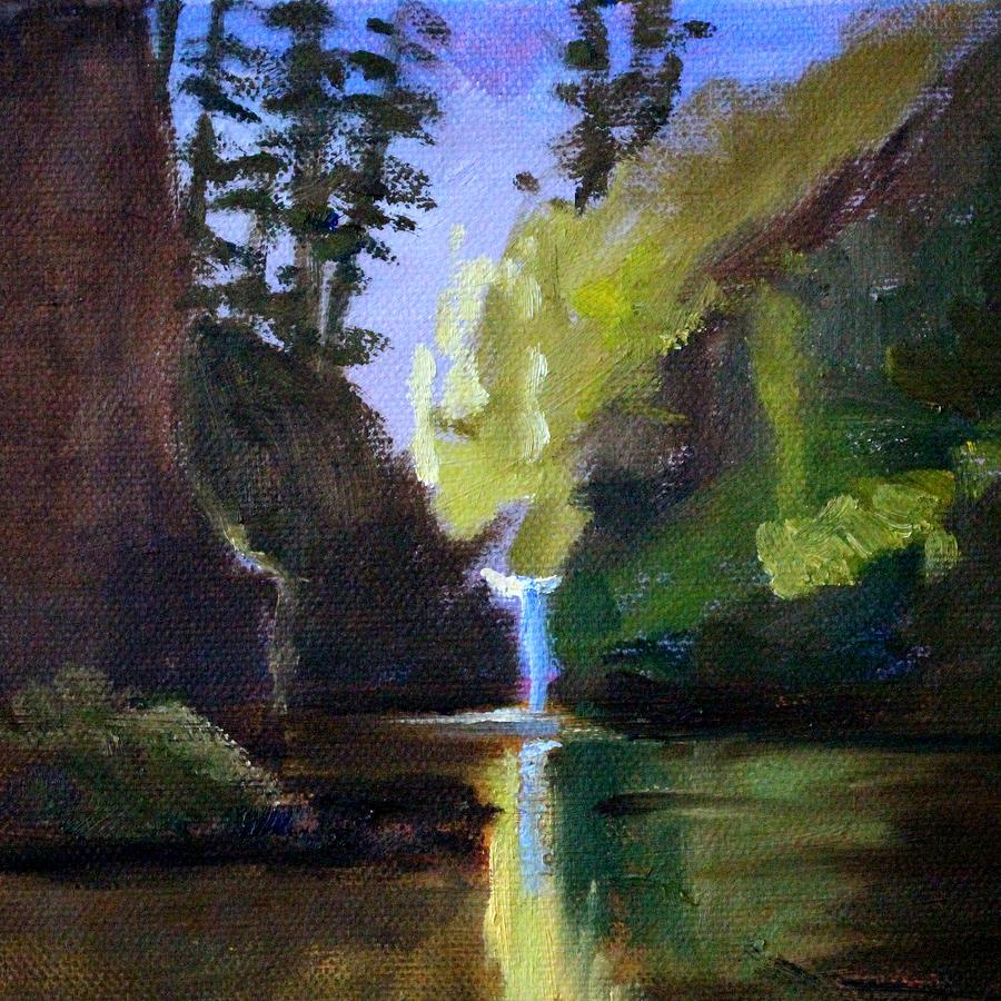 Oregon Painting - Punch Bowl Falls by Nancy Merkle