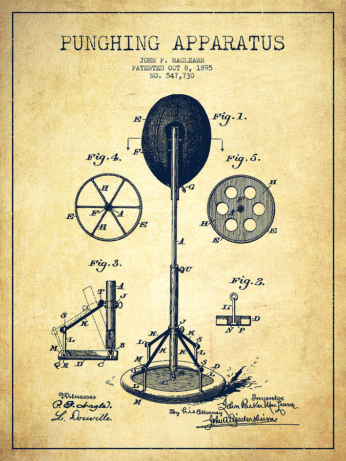 Punching Bag Digital Art - Punching Apparatus Patent Drawing From 1895 -vintage by Aged Pixel
