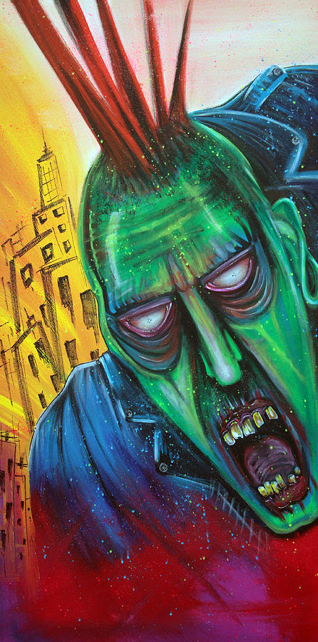 Punk Painting - Punk Rock Zombie by Laura Barbosa
