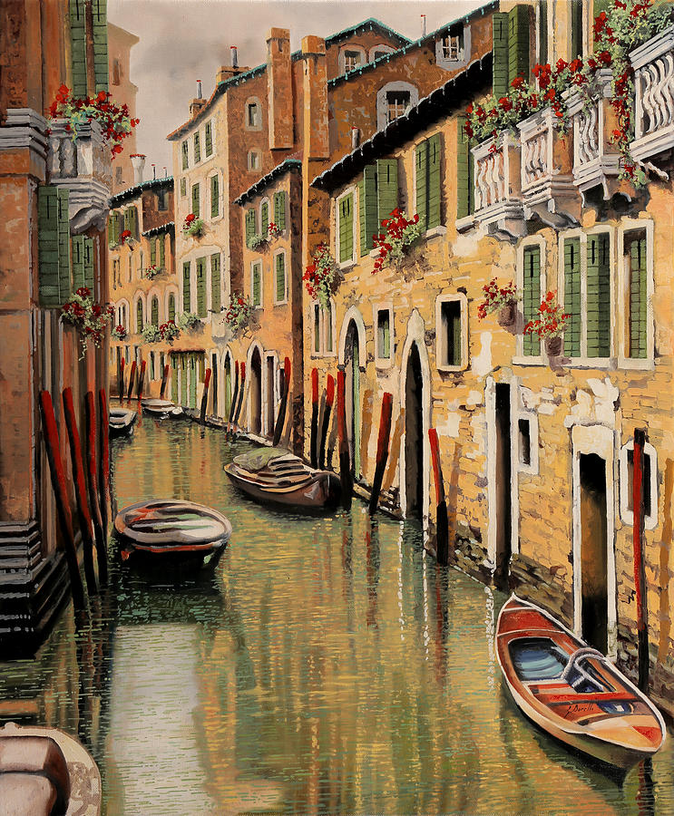 Red Dock Painting - Punte Rosse A Venezia by Guido Borelli