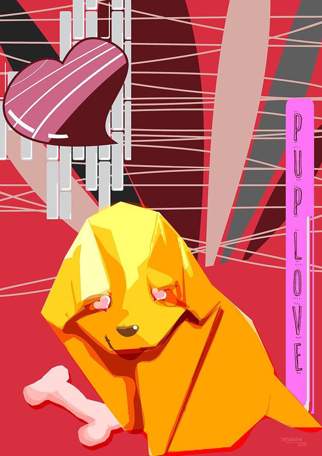 Dog Digital Art - Puplove by Trishagni Naik