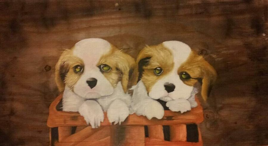 Puppies Painting - Puppies In A Basket by Terrence Lewis