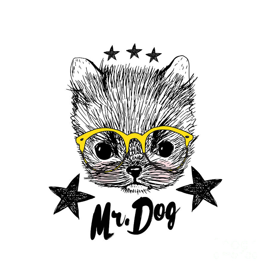 Fur Digital Art - Puppy And Yellow Glasses Illustration by Shekaka