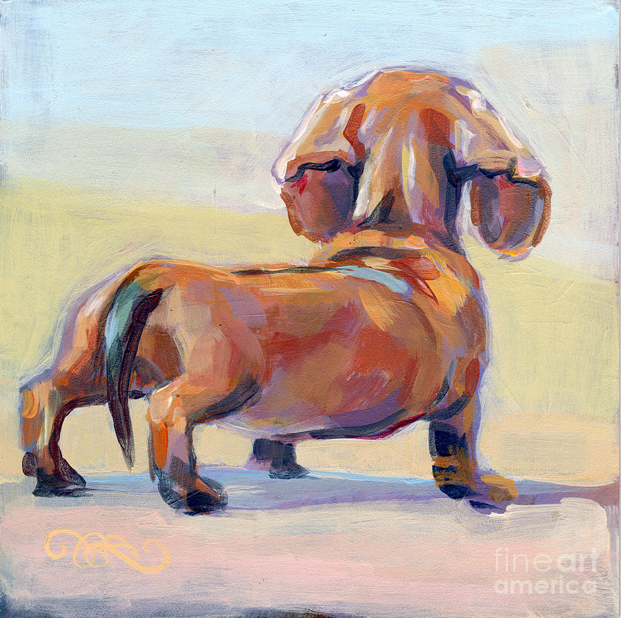 Daschund Painting - Puppy Butt by Kimberly Santini