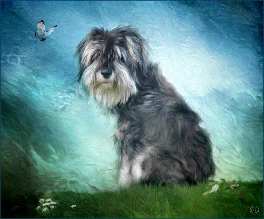 Dog Digital Art - Puppy Explores The World by Gun Legler