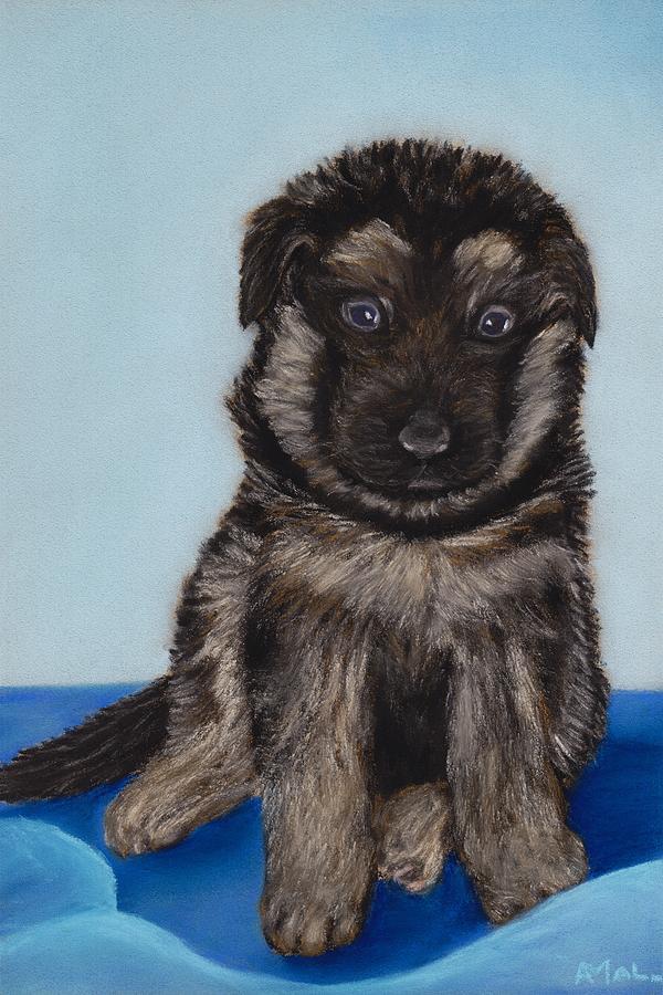 Puppy Painting - Puppy - German Shepherd by Anastasiya Malakhova