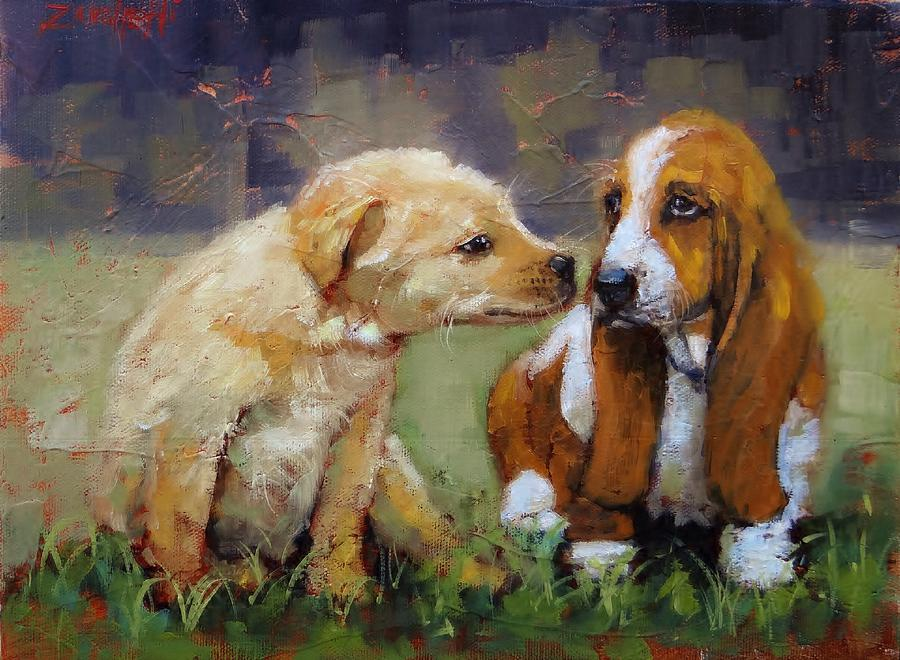 Puppies Painting - Puppy Love by Laura Lee Zanghetti