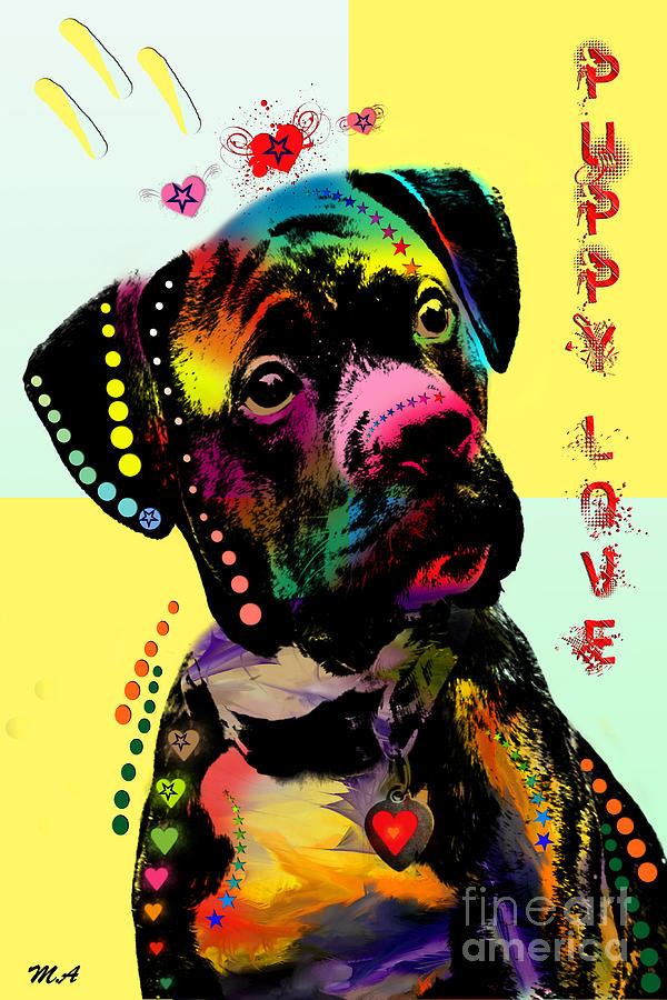 Puppy Painting - Puppy Love by Mark Ashkenazi