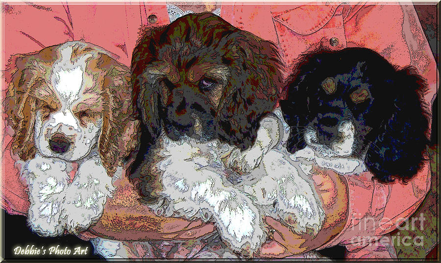 Animals Digital Art - Puppy Love  Sugar         Little Bear And Peanut by Debbie Portwood