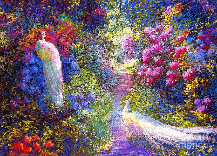 Sun Painting -  White Peacocks, Pure Bliss by Jane Small