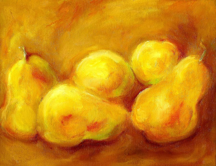 Pear Painting - Pure Gold by Kat Griffin