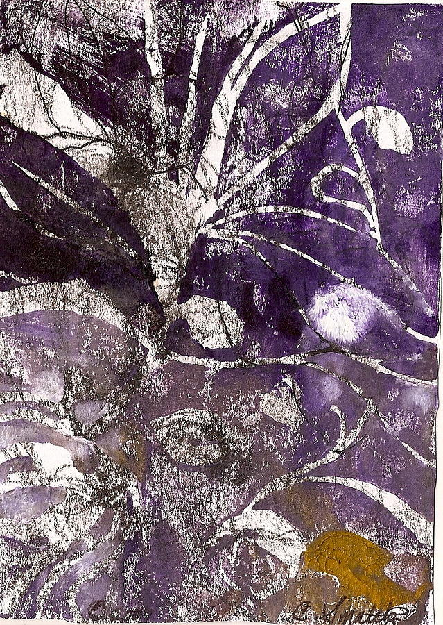 Purple And White Relief - Purity Is Passion by Claudia Smaletz