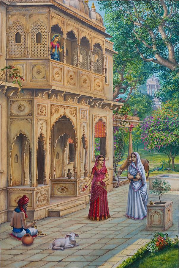 Krishna Painting - Purnamasi In House Of Kirtida by Vrindavan Das